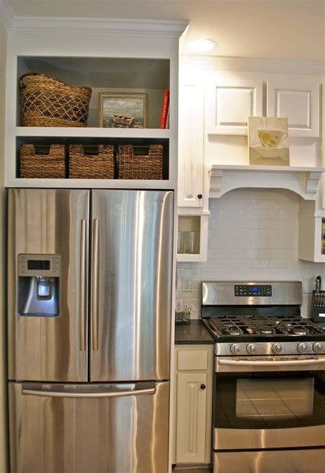 stove opening between cabinets space above the fridge cabinet ideas pinterest stove