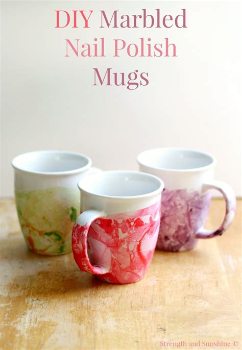 mug design using nail polish diy marbled nail polish mugs