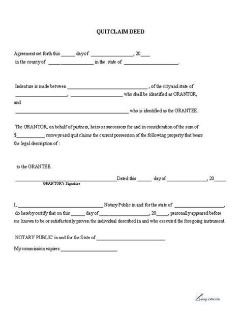 Quitclaim Deed Printable Pdf Download Template Sle Business Forms Pinterest Quitclaim Reality Show Contract Template