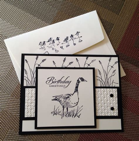 Mens Handmade Cards - handmade card and decorated envelope wetlands in black