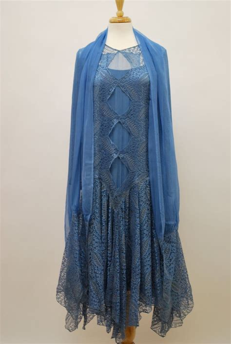 blue pattern lace dress 1920 s blue lace dress with matching wrap
