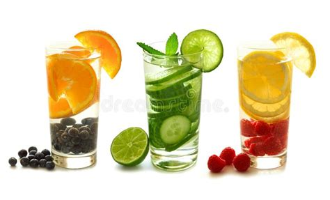 Detox Drinks White Background by Detox Water With Fruit On White Stock Photo Image Of