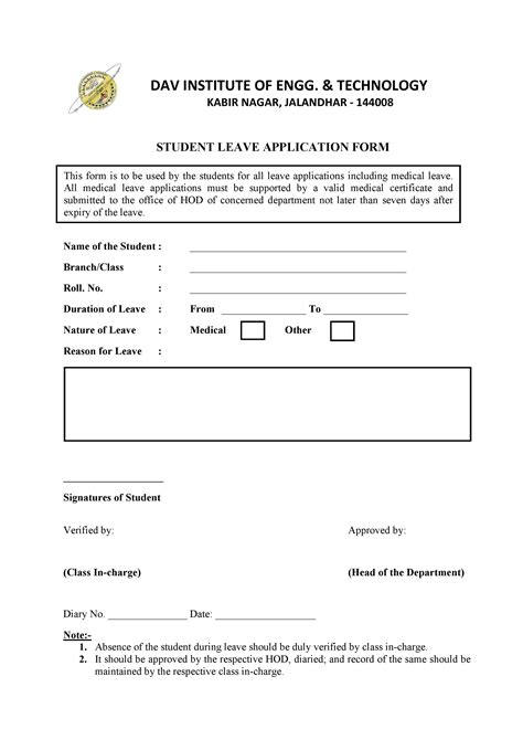 Mba Application Form Tips by Student Leave Application Form Daviet College