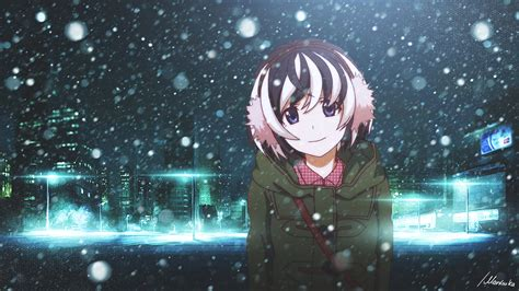 anime winter snow in the city wallpaper 65 images