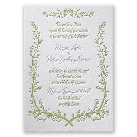 Wedding Invitations Letterpress by Flowers And Vines Letterpress Invitation Invitations By
