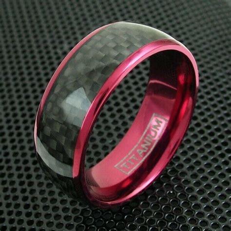 mm wine red titanium mens ring black carbon fiber