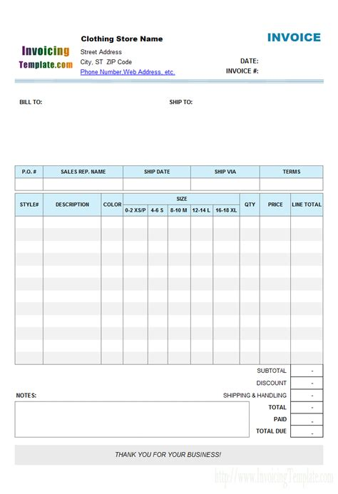 shopping receipt template clothing store manufacturer invoice format with item