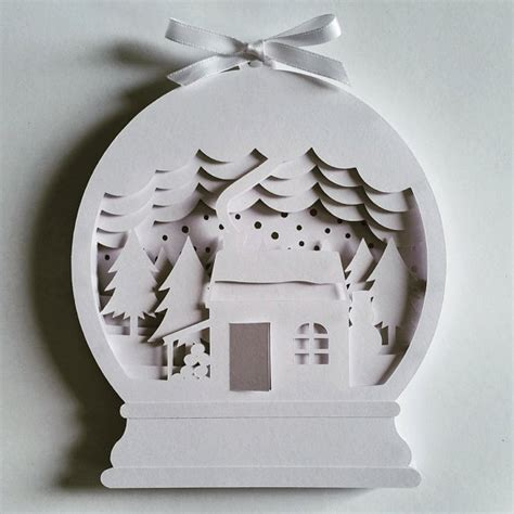 3d paper cutting templates snow globe diy layered 3d shadow box papercut