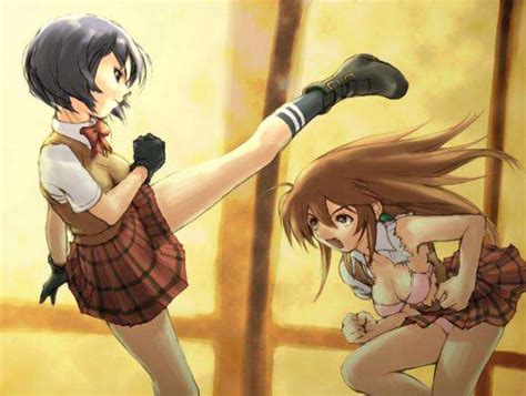 film anime combat i please me me and my friend in high skool s fight