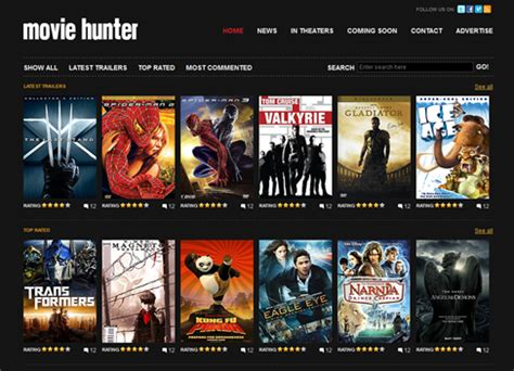 blogger templates for movie site free website template movie hunter free web templates