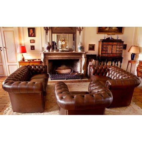 Distressed Leather Armchairs Chesterfield Carton