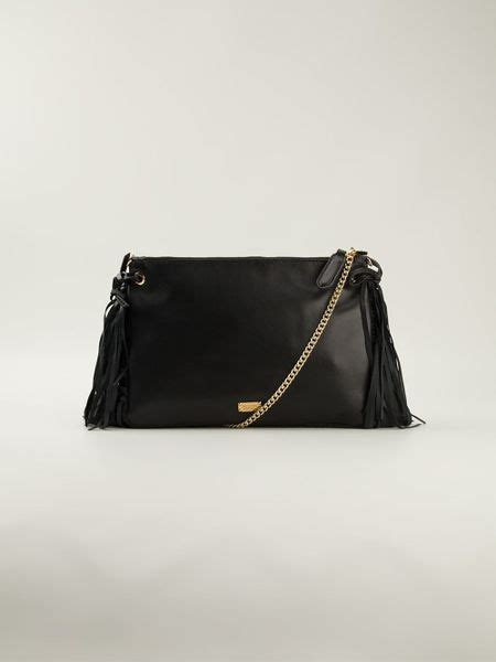 Moschino Cheap Chic Slitted Shoulder Bag by Moschino Cheap Chic Fringed Shoulder Bag In Black Lyst