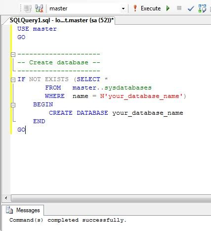 mssql create database with sql statement | 4 rapid development