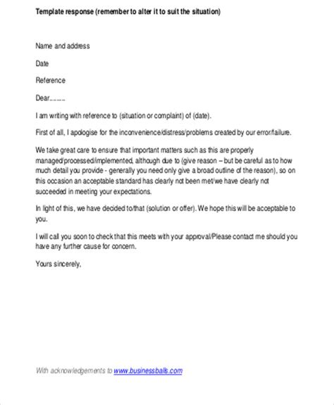 business letter exle for a complaint business letter response 28 images business letter