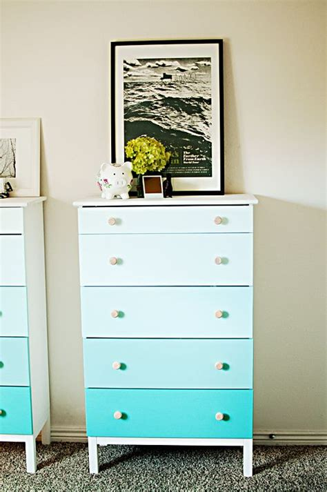 shades of blue ombre chest of drawers dresser changing ombre dresser but i could paint the whole thing brown