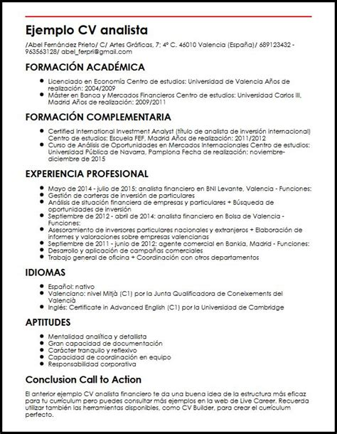 Modelo Curriculum Financiero Ejemplo Cv Analista Financiero Micvideal