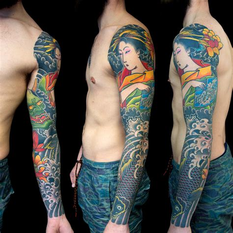 traditional japanese tattoo sleeve tom tom sunset tatoo
