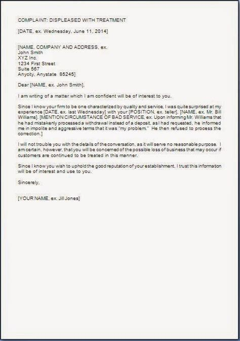 Complaint Letter Template For Poor Customer Service Poor Service Complaint Letter Format