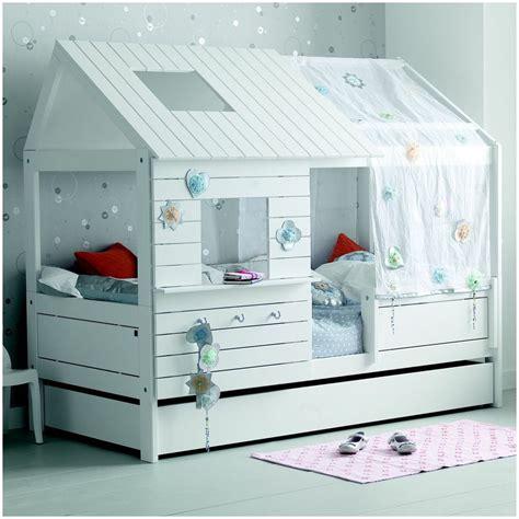lit cabane fille  blanc
