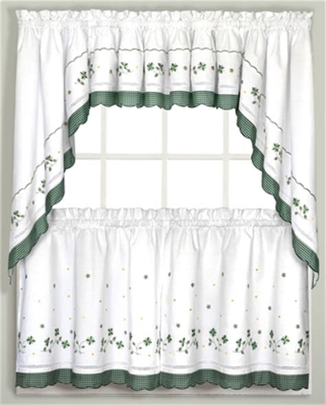 gingham floral kitchen curtain green linens4less com