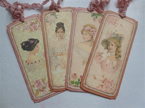 vintage decor design bookmark 5689 bookmarks tags victorian lady vintage style pink roses book