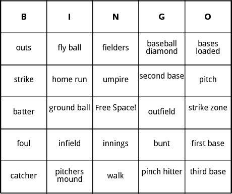baseball bingo by bingo card template