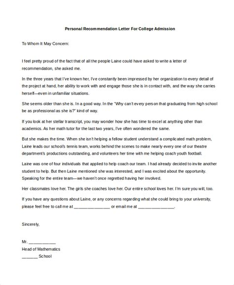 Letter Of Recommendation To College Sle Personal Recommendation Letter 4 Free Documents In Pdf Doc