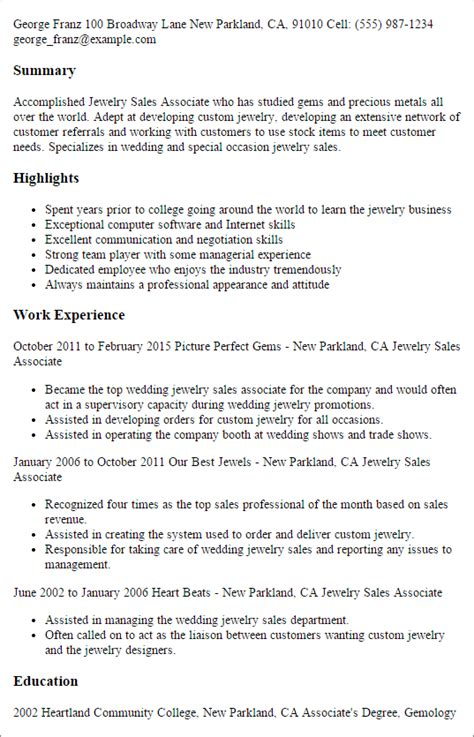 Customer Service Representative Job Description Resume by Professional Jewelry Sales Associate Templates To Showcase