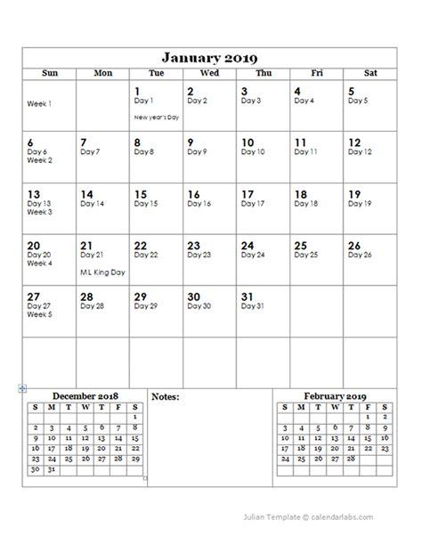 julian day calendar  printable templates