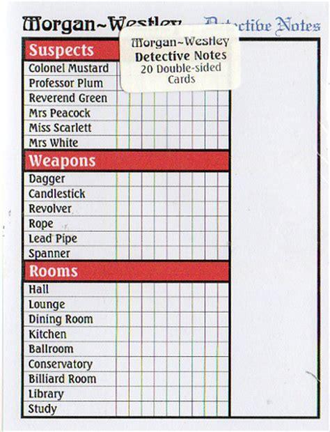 clue score cards template cluedo detective notes mw1 163 2 50 puzzleport