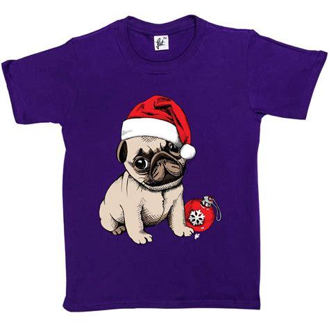 wearing pug shirt pug puppy wearing santa hat with snowflake bauble boys t shirt