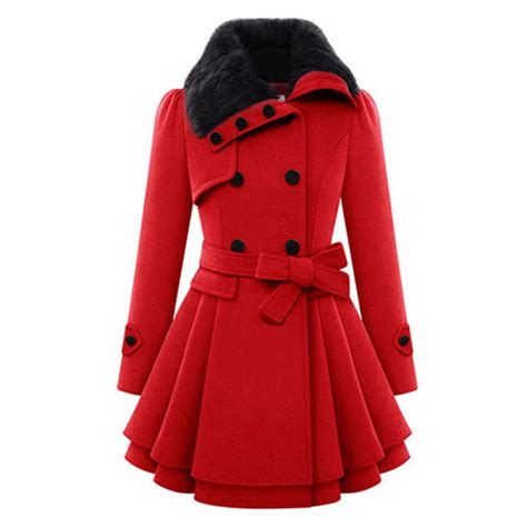 In Coat by Trench Coat Winter Fur Collar Wool Warm