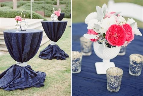 navy and coral wedding centerpieces picture of navy and a blush of coral wedding color palette