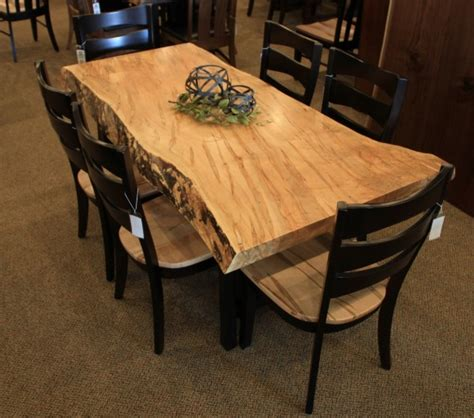 Dining Room Bench Sets Wormy Maple Live Edge Slab Table Solid Hardwood Furniture