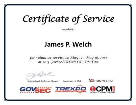 Certificate Of Service Letter Exle Certificate Of Volunteer Service James Welch