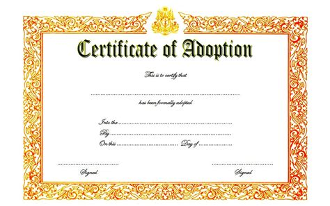 child adoption certificate template adoption certificate template 3 best 10 templates