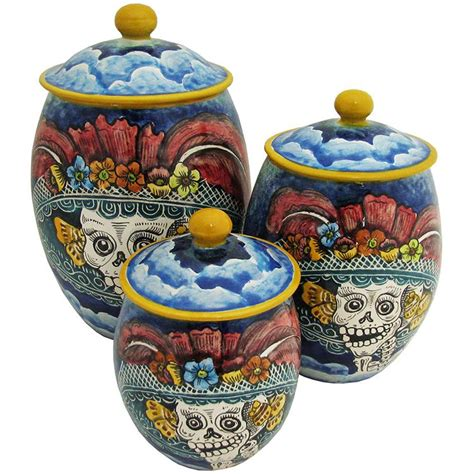 Day Of The Dead Kitchen Decor by Santa Rosa Majolica Oval Day Of The Deadkitchen Canister