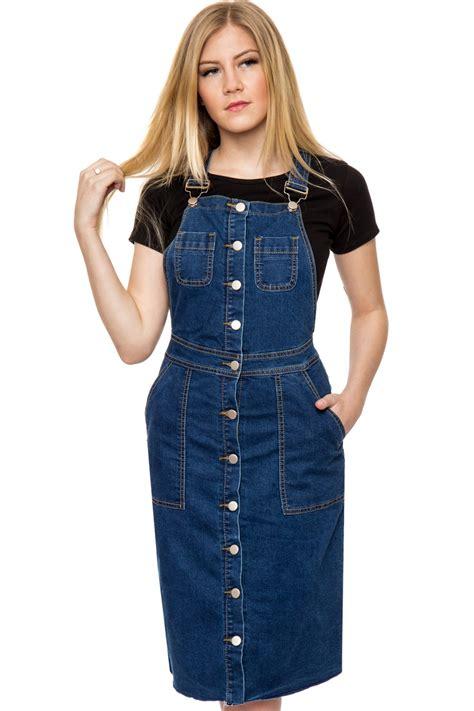 Kr378 Denim Dress 1 pippa denim pinafore dress womens dresses