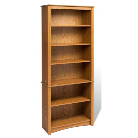 prepac sonoma 6 shelf 77 quot h wood oak bookcase ebay