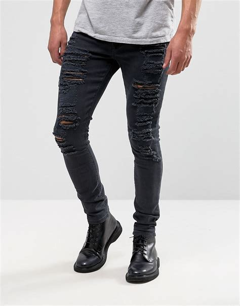 skinny jeans black mens asos asos super skinny jeans with extreme rips at asos