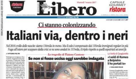 libero quotidiano italia due piccioni con una prima pagina libero contro migranti
