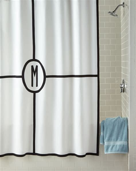 monogram shower curtains matouk parterre monogrammed shower curtain