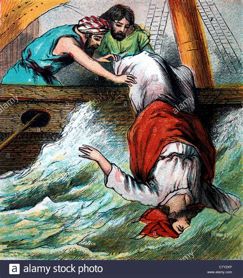 jonah thrown off the boat illustration from the story of jonah and the whale jonah
