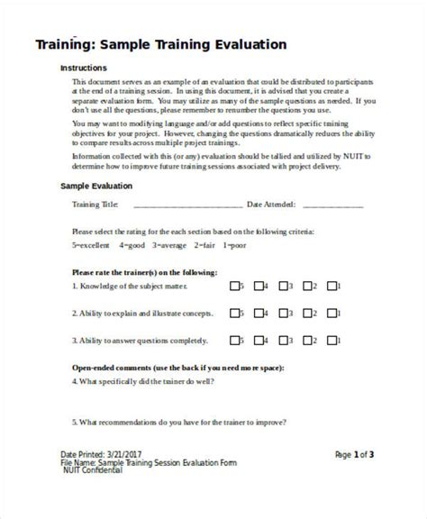 training evaluation form exles