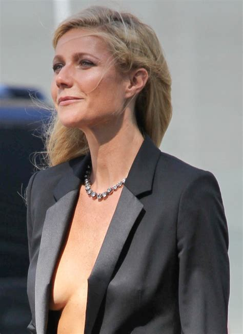 Gwyneth Paltrow goes shirtless under suit on Hugo Boss set