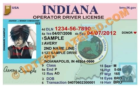 indiana id card template psd template editable with adobe photoshop this is