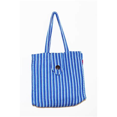 Handmade Shopping Bags - bluebell stripe fair trade cotton handmade shopping bag