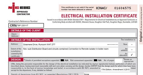 Electrical Testing Reports And Certificates Electrical Installation Certificate Template