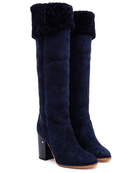 Laurence Dacade Suede Knee High Boots In Blue Lyst