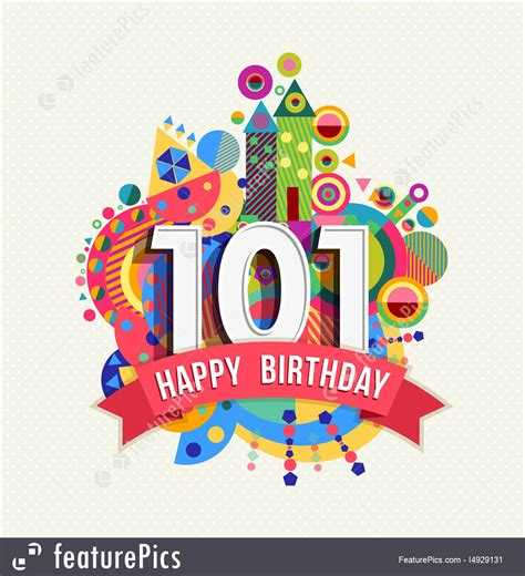 happy birthday  year greeting card poster color stock